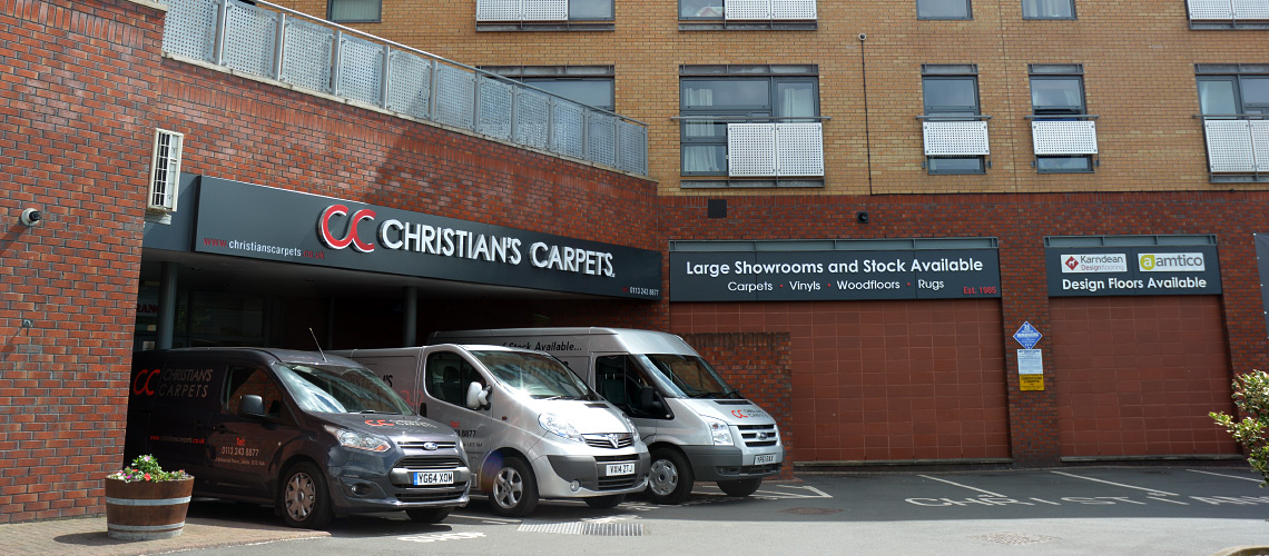 Outside Christians Carpets showroom, Leeds